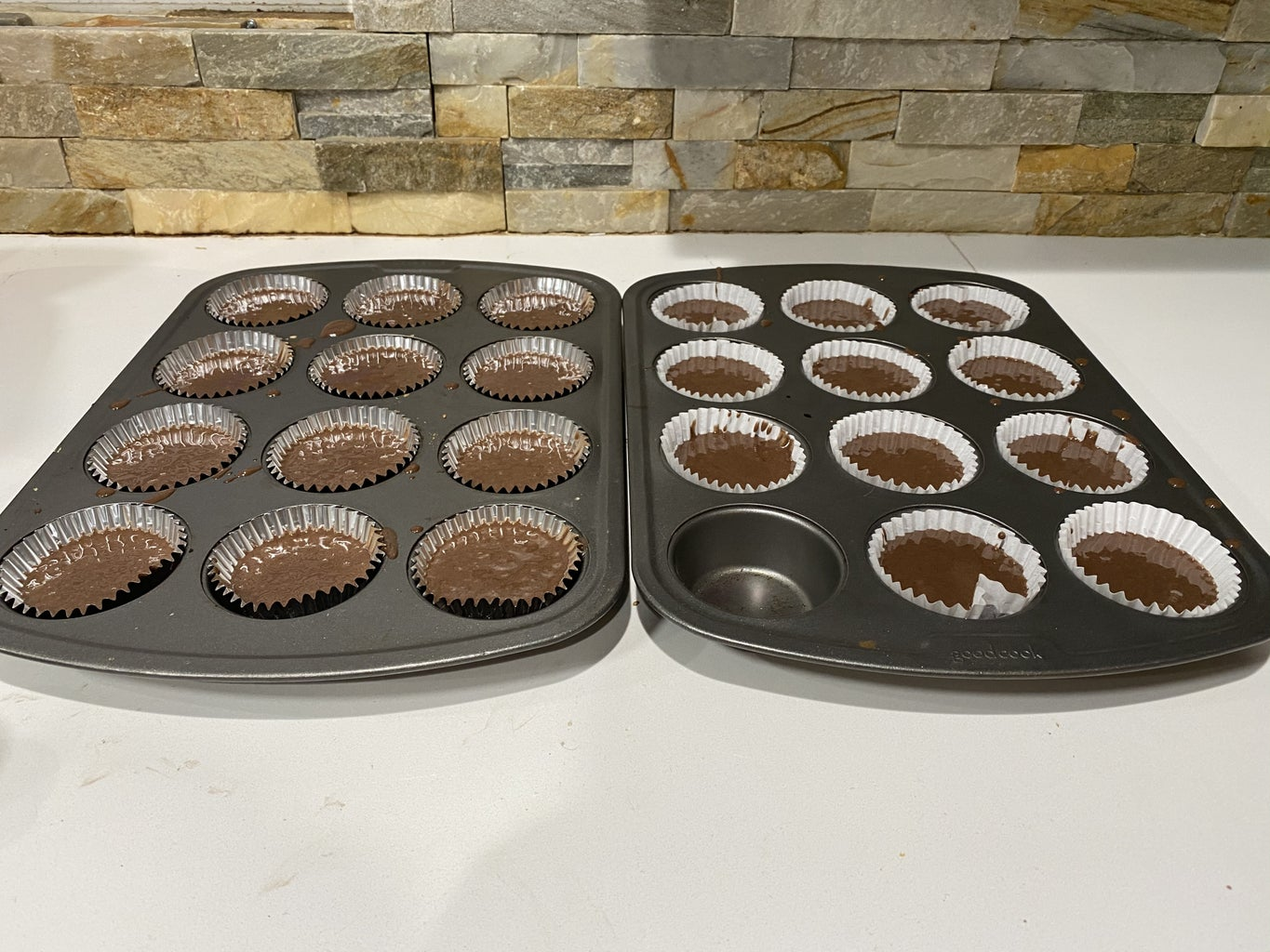 Mix All Dry Ingredients With Wet Ingredients Until Smooth Batter, Put in Cupcake Trays
