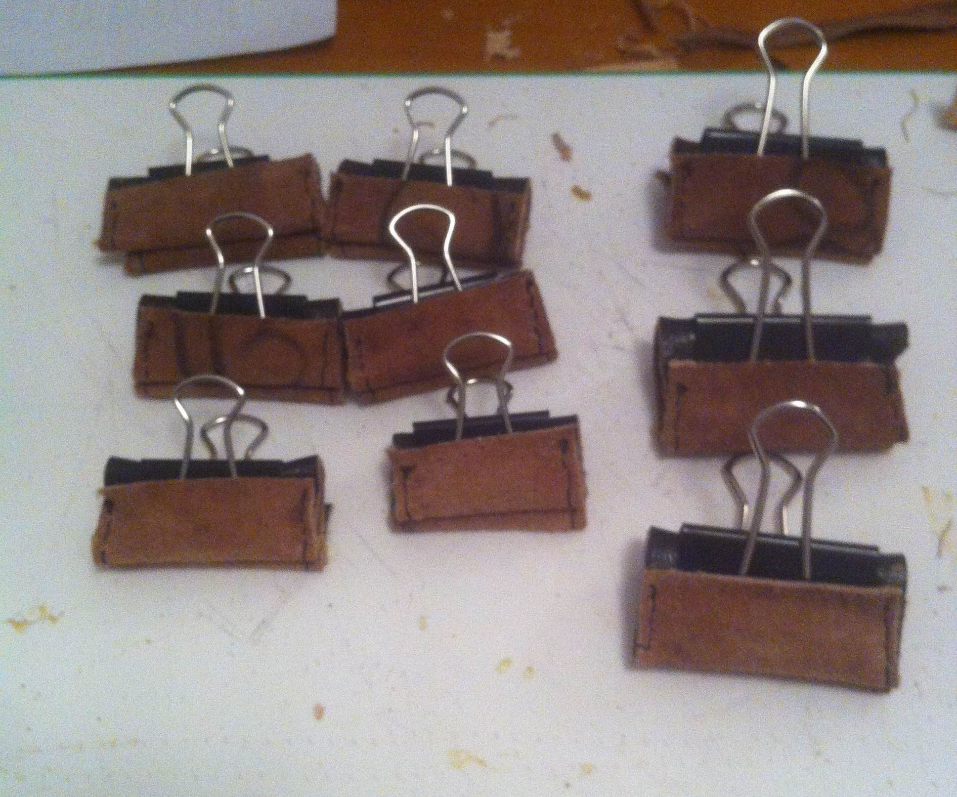 Reclaimed Leather Binder Clip Padding
