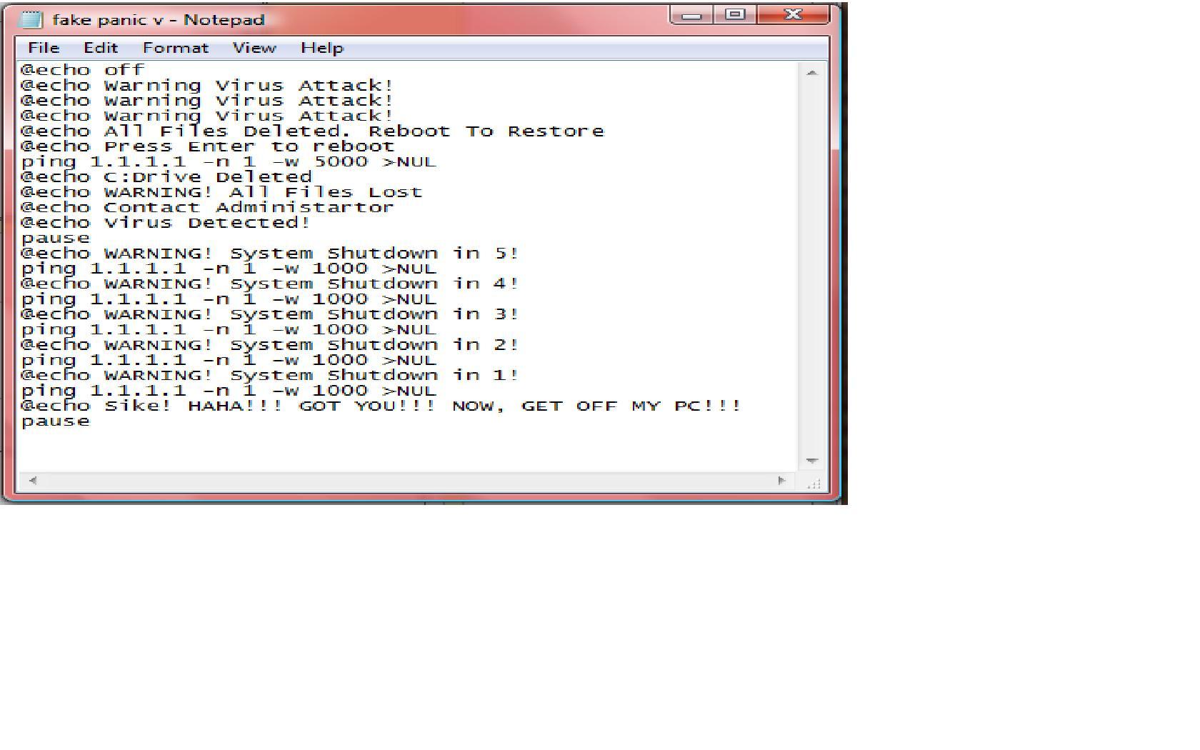 Batch File Prank