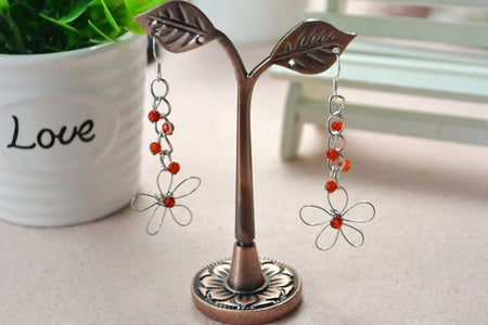 Here Is the Final Look of the Wire Wrapped Flower Earrings Tutorial: