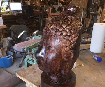 Transform an Oak Log Into a Buddha Head