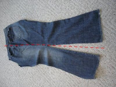 Cut Jean Halves Into Workable Pieces.