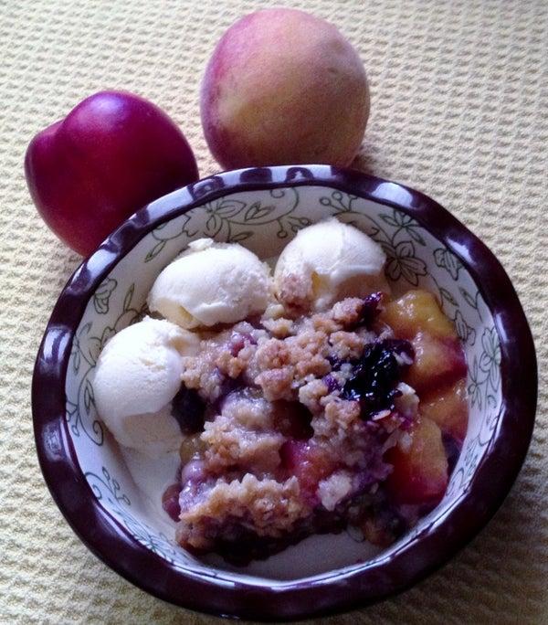 Gluten Free Peach Blueberry Crisp