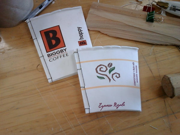Scrap Paper Notebooks With Coffee Cup Covers.