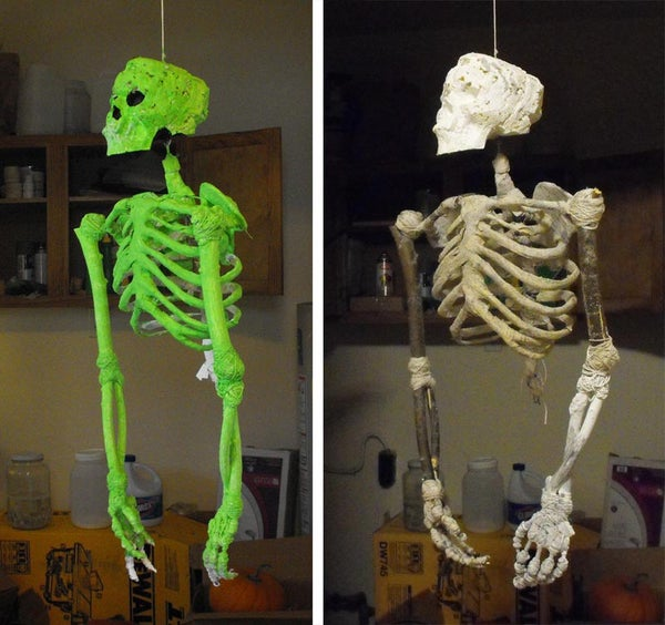 DIY Skeleton Made From Sticks, String, Foam and Mache'