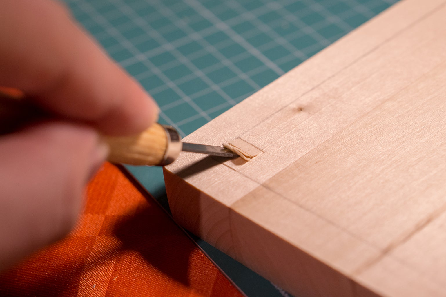 Carving the Mortises in the Bottom Piece