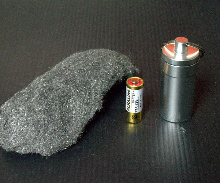 Steel Wool Emergency Fire Starter