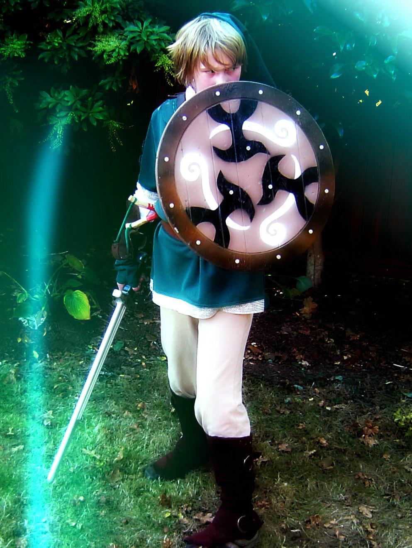 Link's sword, scabbard, shield and slingshot