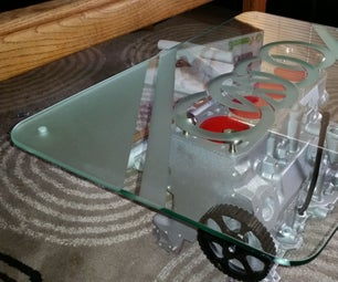 VW Engine Table With Lights and Etched Glass