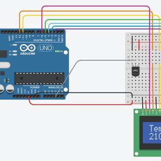 TMP36 Temperature Sensor and LCD Display Using Arduino (Tinkercad)