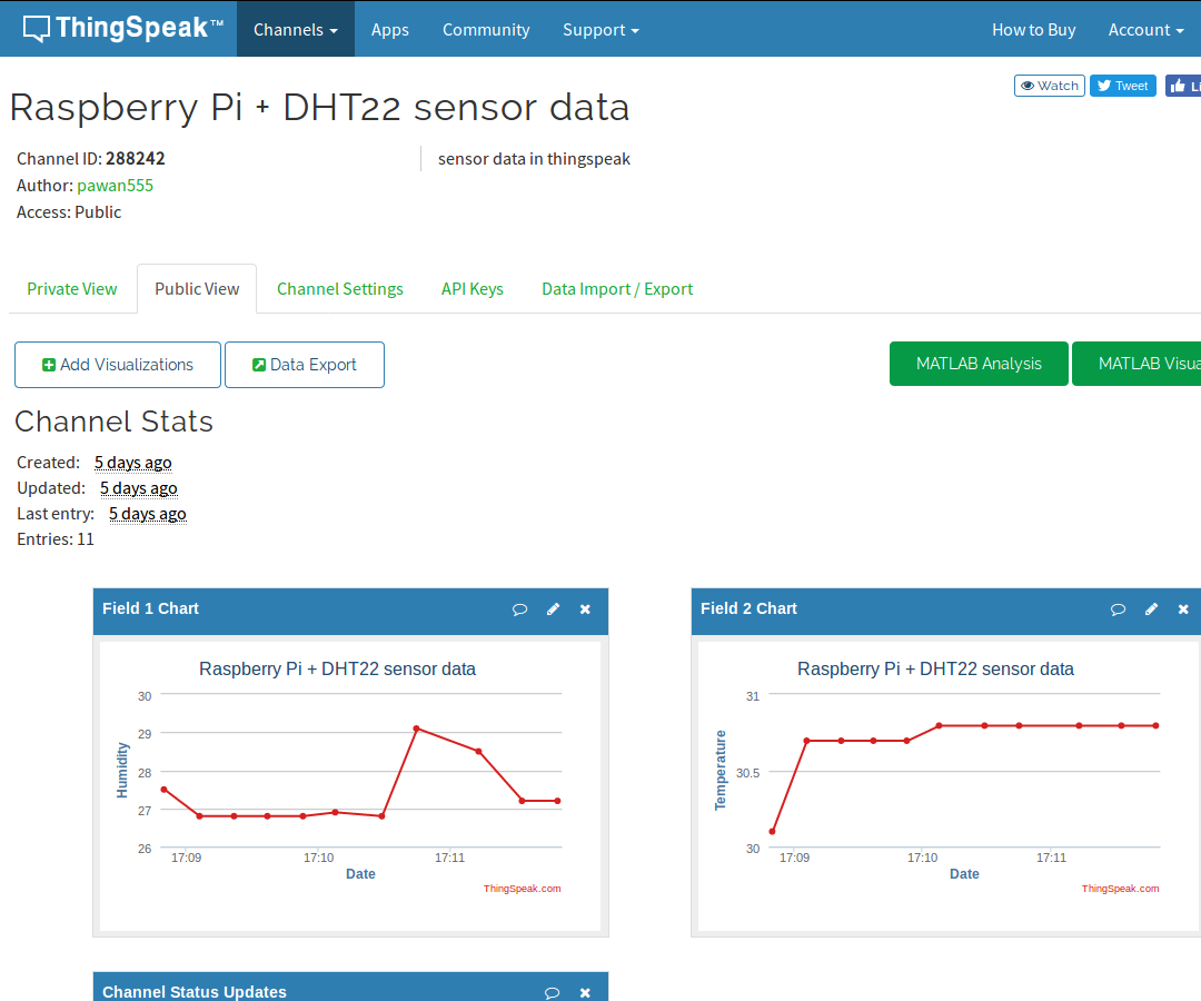 Raspberry Pi Sending Dht22 Sensor Data to Thingspeak