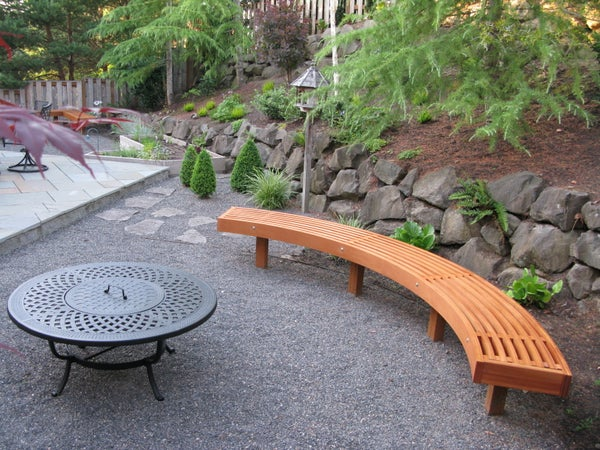 Curved Garden Bench From Cedar Laminations