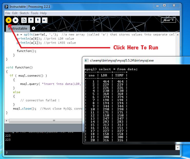 Save Arduino Sensor Data to MYsql Using Processing