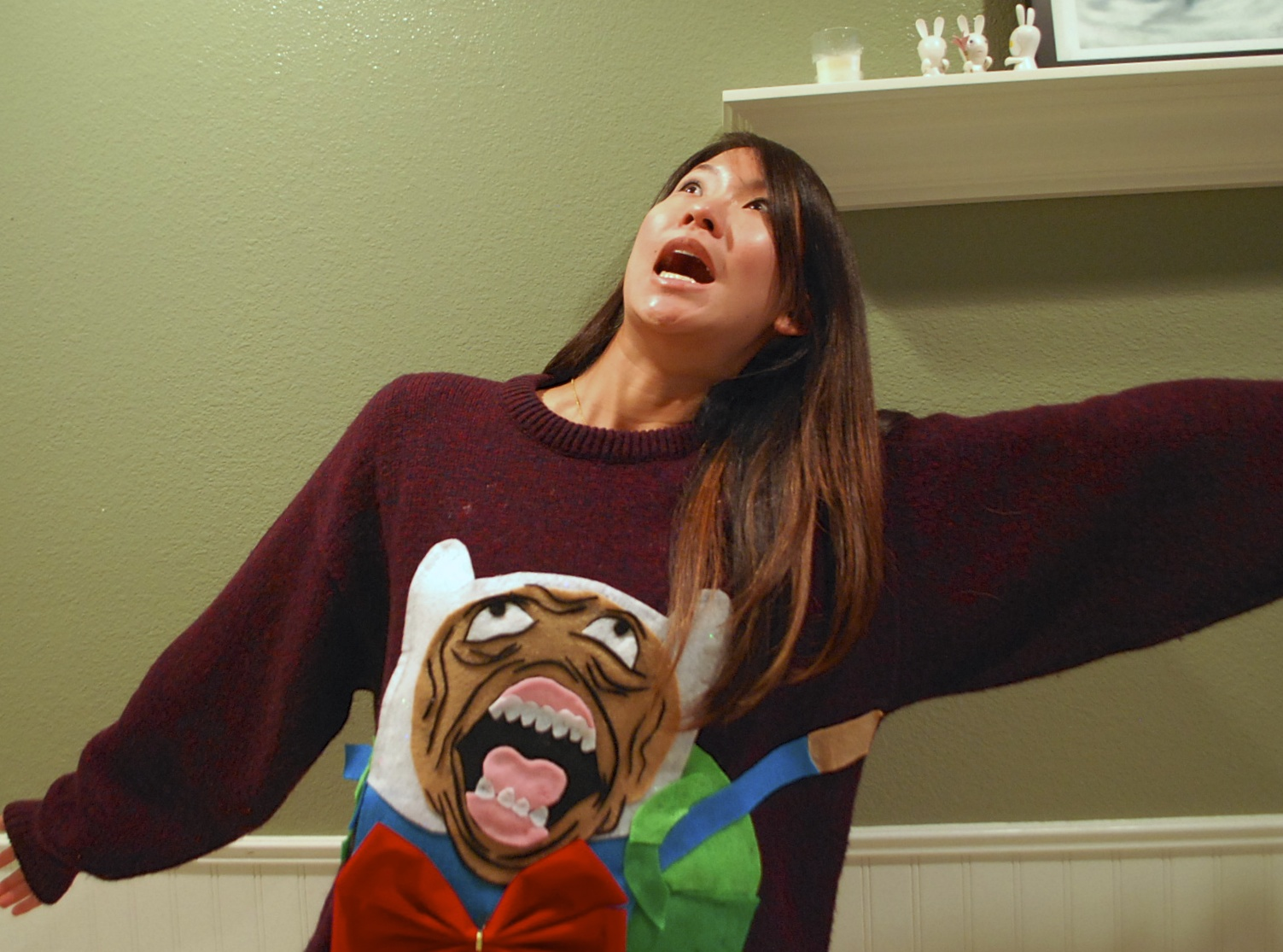 Make your own Adventure Time Rage Face Ugly Christmas Sweater!