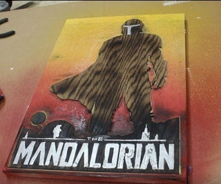 Wooden Mandalorian Poster With Real Metal