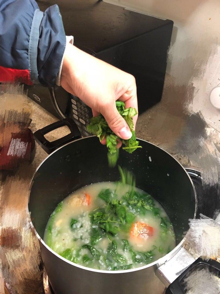 Final Step - Drop Cilantro / Prepare Lobster Porridge Into a Nice Container