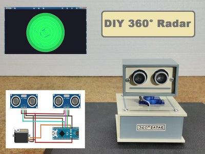 360° Arduino Radar With 2xHC-SR04 Sensors