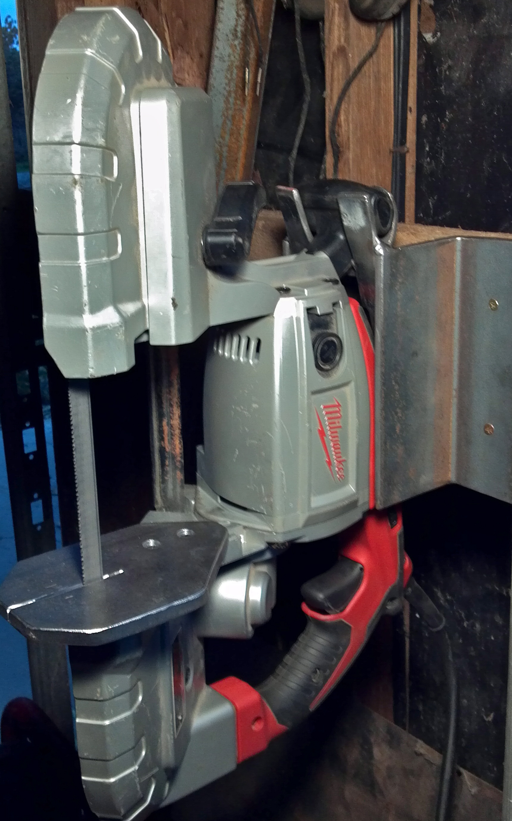 Nifty vertical table saw stand for you portable bandsaw that keeps your bandsaw portable!
