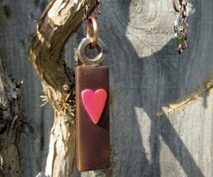 Glass Tile Pendant - Brown With Pink Heart