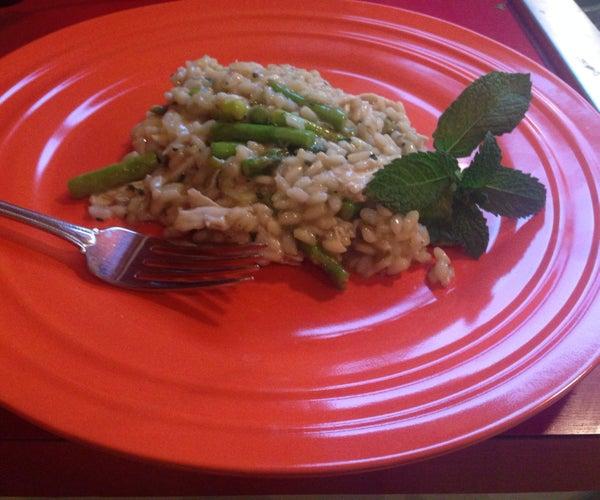 Chicken Asparagus and Pesto Risotto