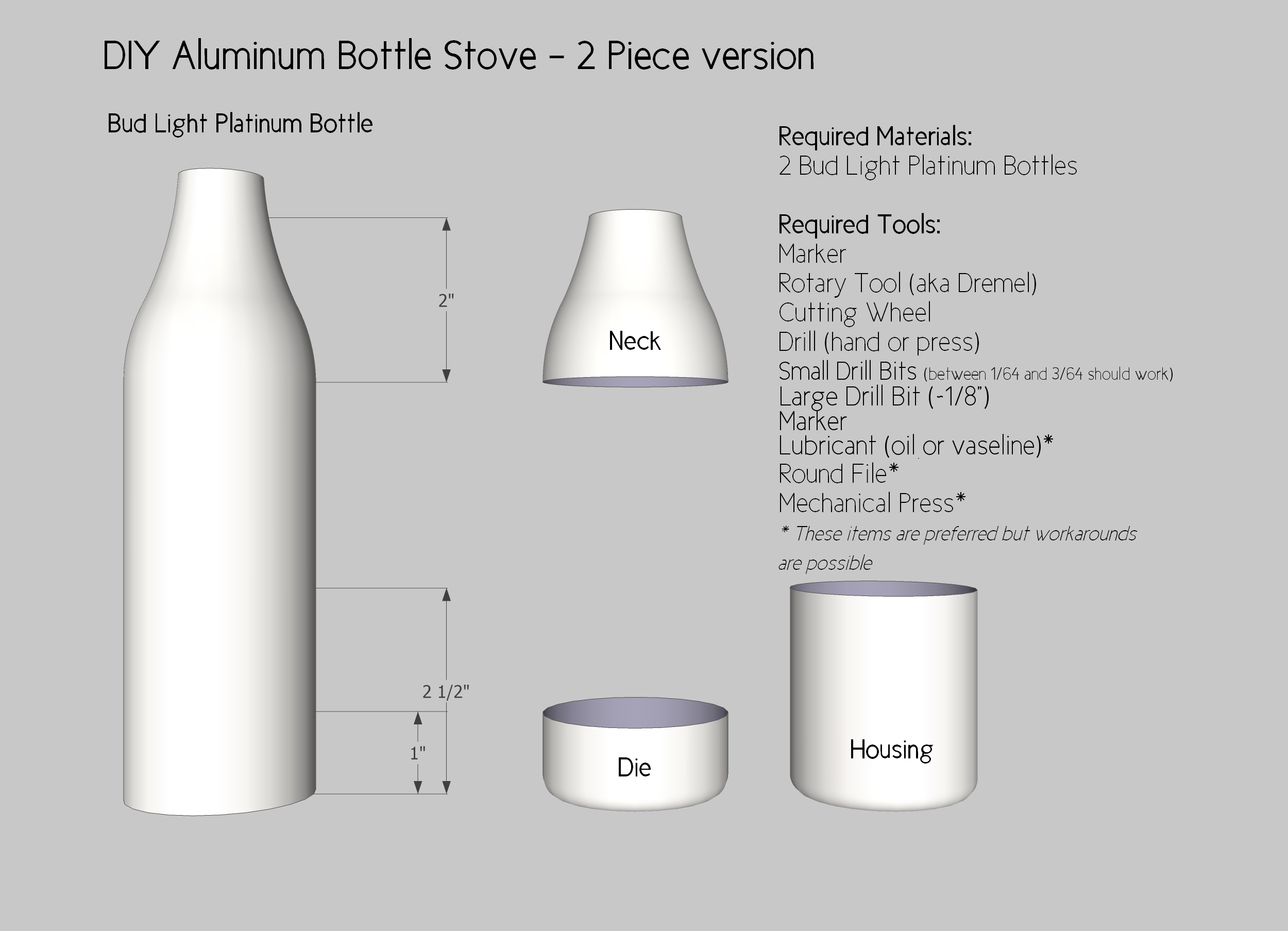 Aluminum Beer Bottle Stove - 2 Piece