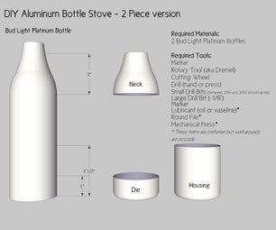 Aluminum Beer Bottle Stove - 2 Piece