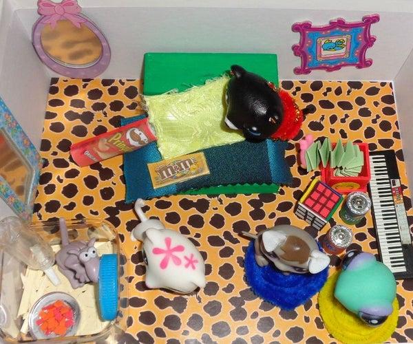 Shoebox Dollhouse Bedroom for Littlest Pet Shop