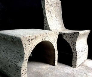 Concrete Chairs and Table