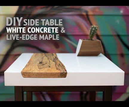 DIY White Concrete Table W/ Live-Edge Maple Inlay