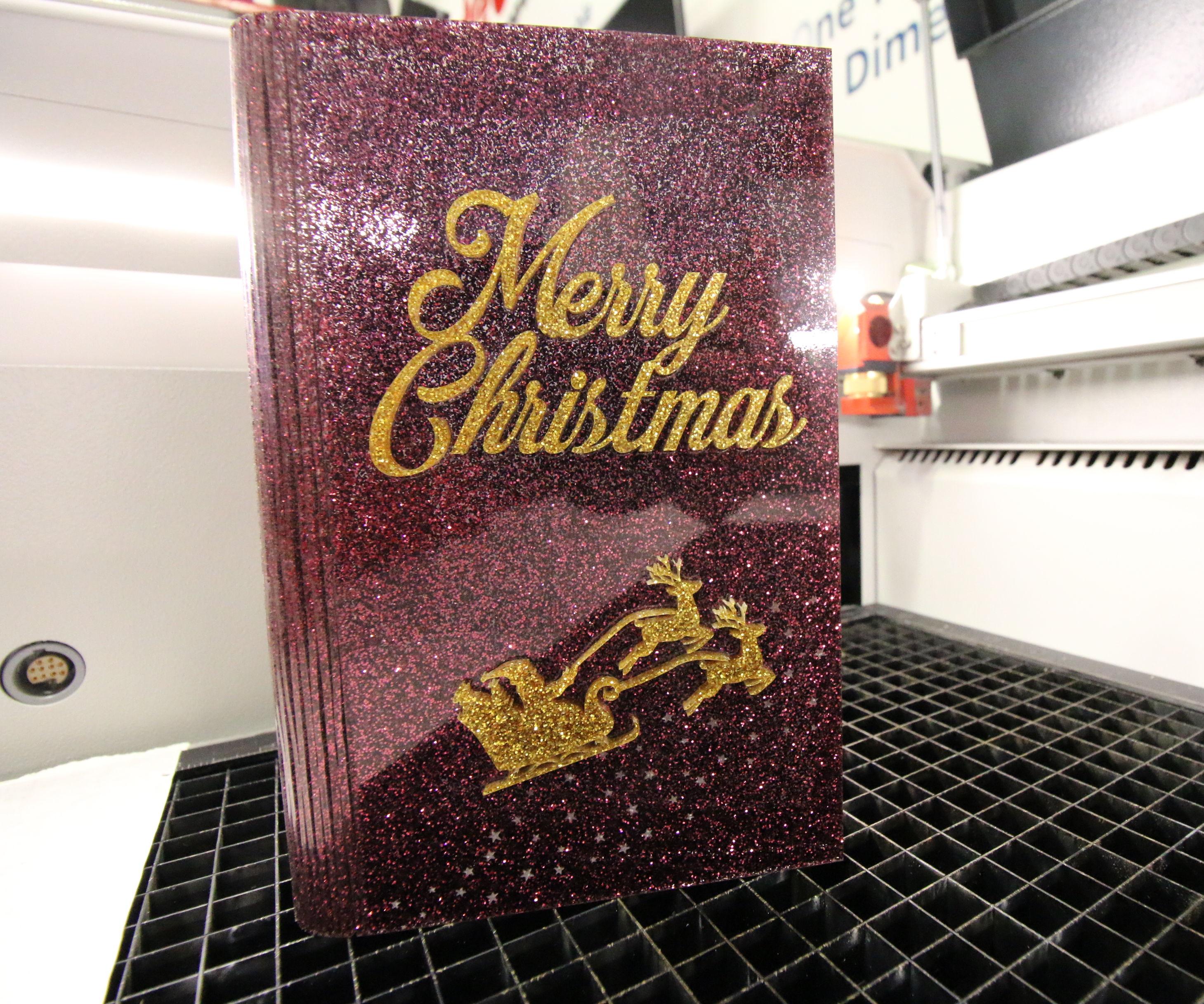 Glitter Acrylic Christmas Card