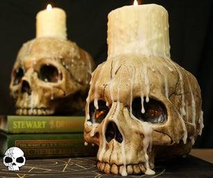 万圣节头骨蜡烛道具