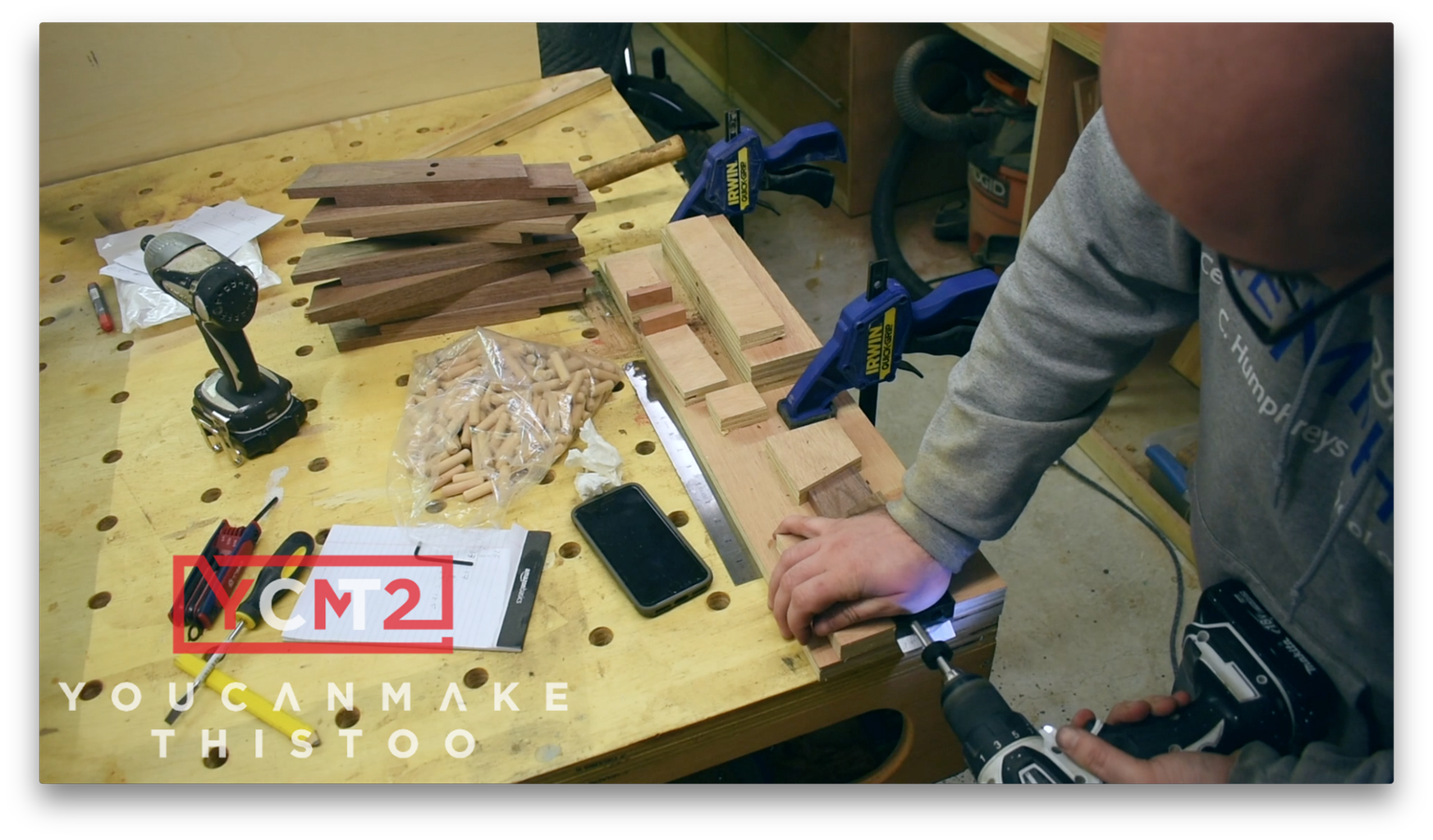 Drill the Holes for Dowels in the Stretchers