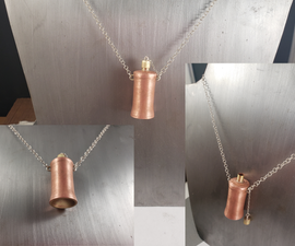 Copper Perfume Flask Pendant W/ Brass Accents