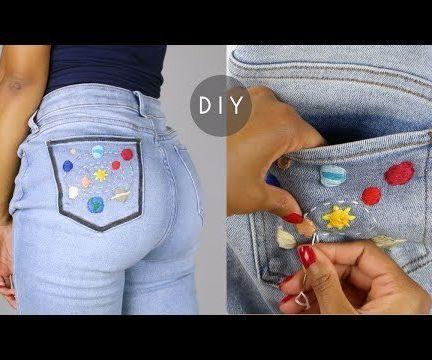 DIY Space Embroidered Denim Jeans Pocket