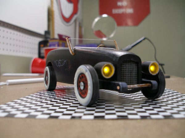 Vintage Headlights and Taillights for Pinewoood Derby Car