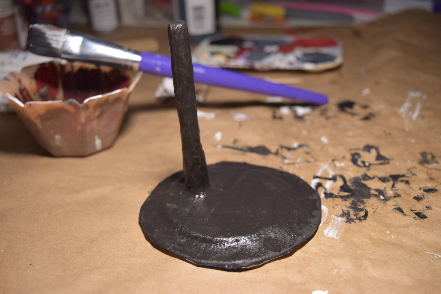 Creating a Figure Stand (Paper Mache + Painting the Base Coat)