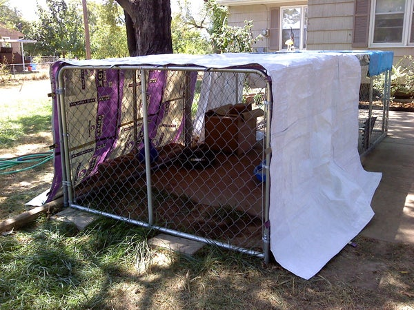 DIY Shelter Kennel Cover From Feed Sacks
