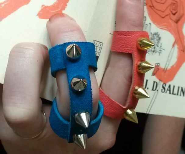 Studded Leather Knuckle Ring