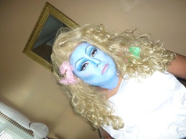 Halloween 2013 MTF Smurfette Makeup