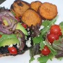 Vegetarian BBQ: Portobello Burger with Grilled Onions, Eggplant and Sweet Potato Fries