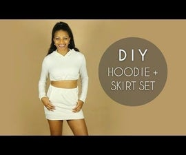 DIY Crop Top Hoodie + Skirt Set