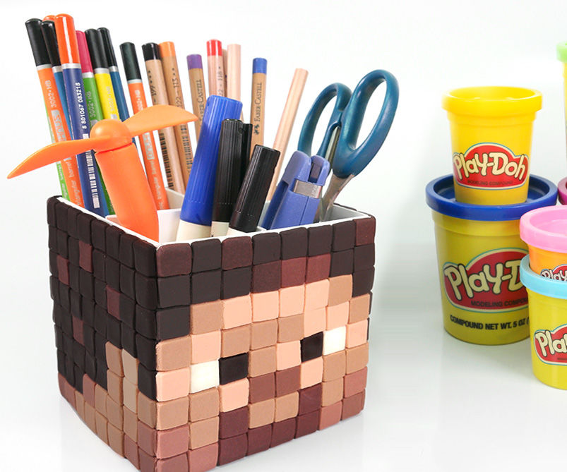 DIY Minecraft Kevin Pen Holder ! How To Make Play doh Minecraft Pen Stand
