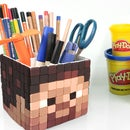 DIY Minecraft Steve Pen Holder ! How To Make Play doh Minecraft Pen Stand