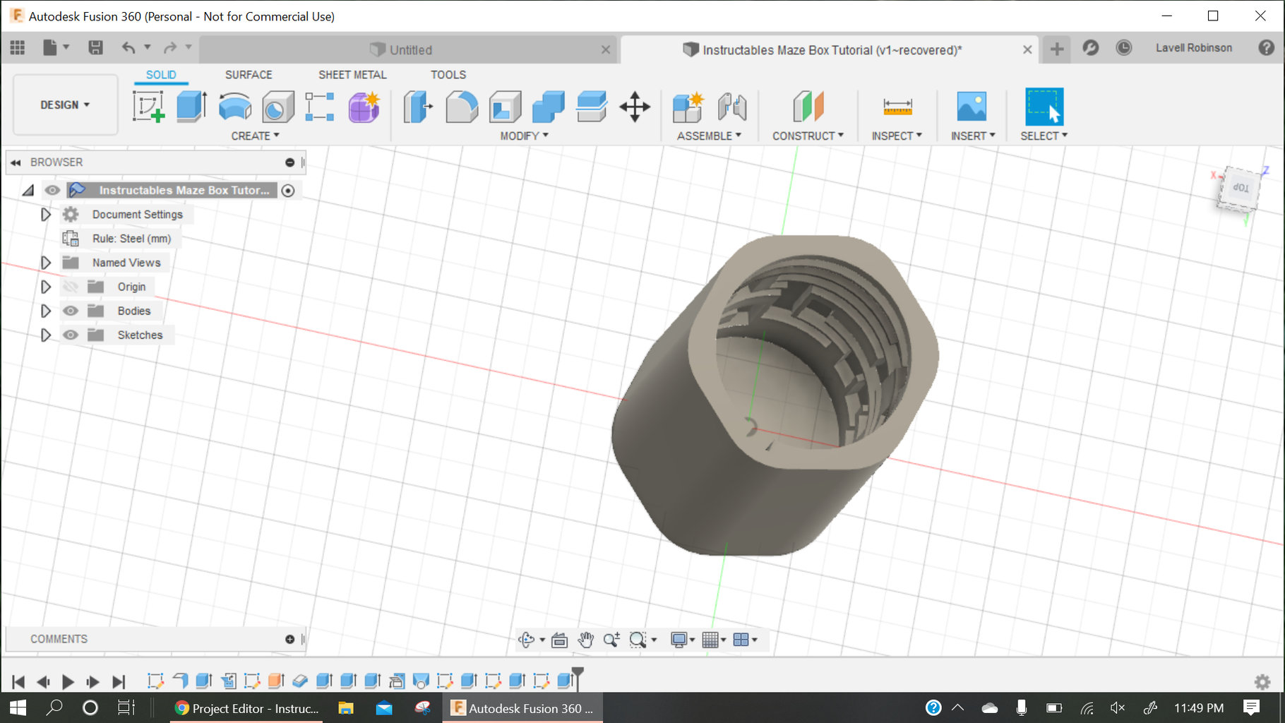 Create INNER Box Cylinder.
