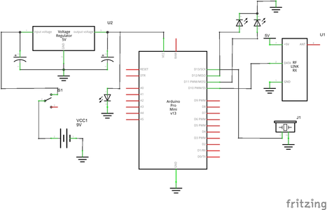 Making the Transmitter: Connect the Buzzer and LED