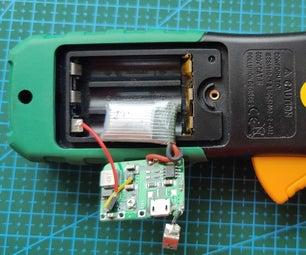 Convert Alkaline Batteries-powered Multimeter to Li-Ion / Li-Pol