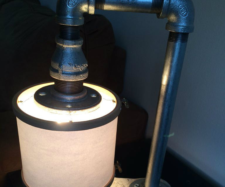 Pipe table lamp with cement base