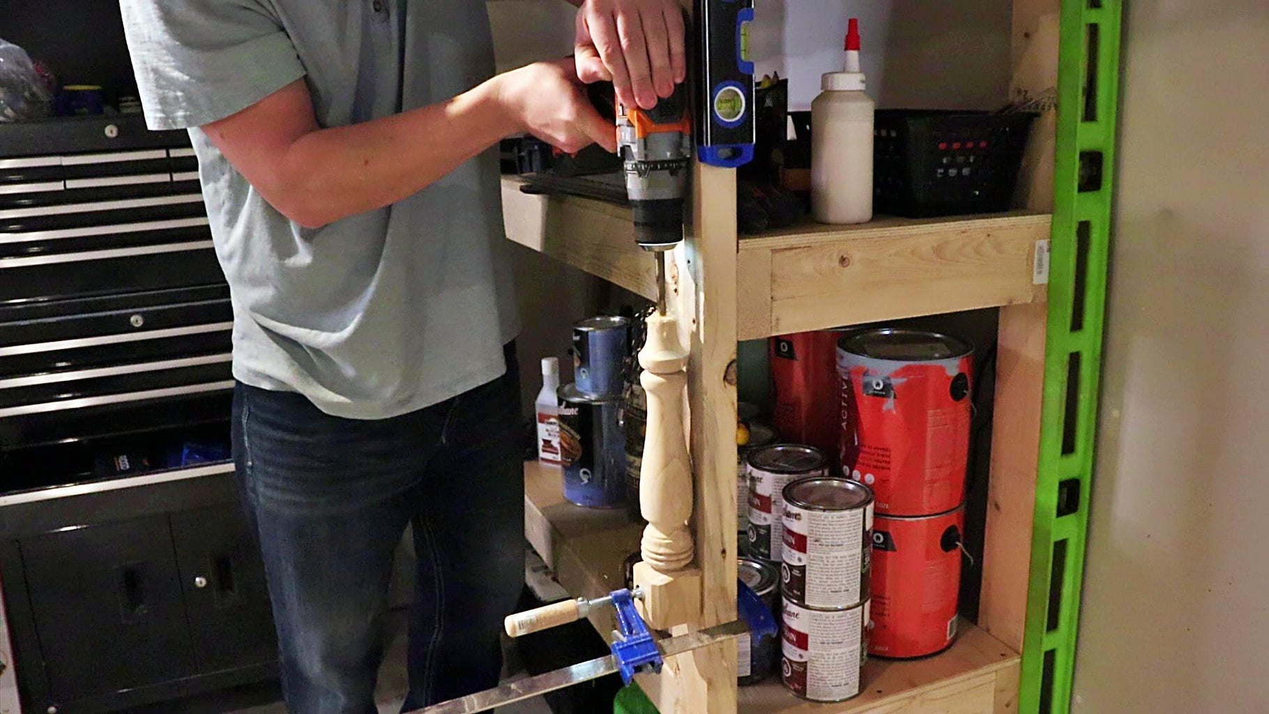 Drilling the Leg and Base for the Cord