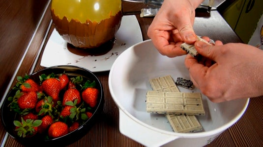 Melt the White Chocolate in a Water Bath for Strawberries