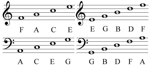 The Grand View of All Notes on the Lines and Spaces in Treble and Bass Clef